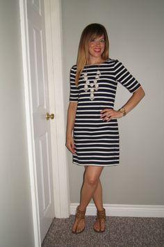 9bceb840da2b2 Navy & White Striped Shift Dress, White SITC Bubble Necklace & SITC  Posie
