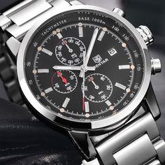 32.80$  Buy now - BENYAR Brand Fashion Chronograph Sport Watches Reloj Hombre Stainless Steel Strap Quartz Military Watch Clock Relogio Masculino  #magazineonline