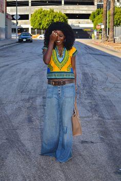 Dashiki Hippie Blouse + Denim Maxi Skirt