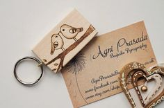 Keepsake Wooden Keyring Pyrography on solid by AgniPrasadaBurning