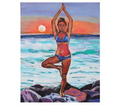 Original Beach Painting summer Yoga At Sunset blue by GwenMeyerson