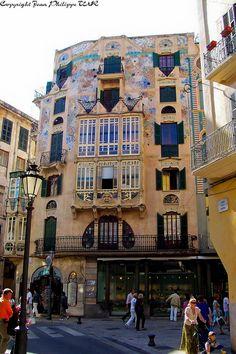 Fachada de azulejos de la fabrica de sa Roqueta, Palma de Mallorca  Spain