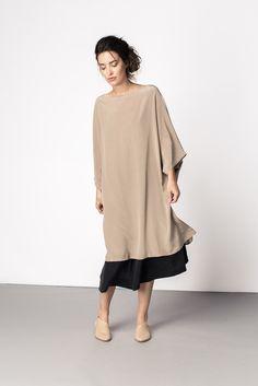 Artist Dress Taupe Silk Crepe