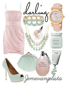 """Darling in Pink and Mint"" by jemevangelista on Polyvore featuring H&M, Office, BeckSöndergaard, MOOD, Valentino, Salvatore Ferragamo, Agent Provocateur and Laura Mercier"
