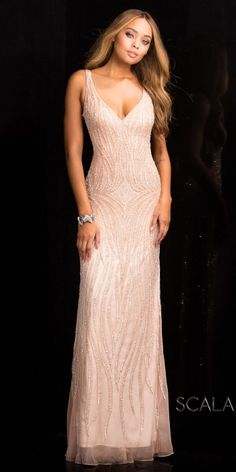 Cascading Sequin Keyhole Back Prom Dress by Scala #edressme