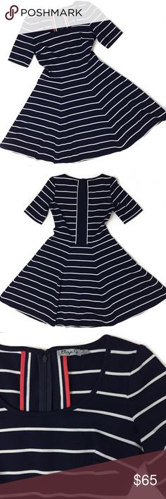 eliza j • navy & white striped dress in great condition.  material is a polyester, spandex and rayon blend | super soft and stretchy!   measurements laying flat-  shoulders 13.5"
