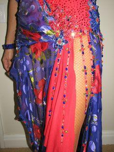 Red and Blue Rhythm or Latin Ballroom Dance Dress Swarovski Stones | eBay