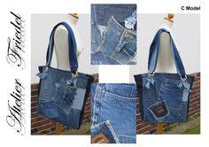 Einkaufstaschen - Jeanstasche >>> - ein Designerstück von lady_pompadour bei DaWanda