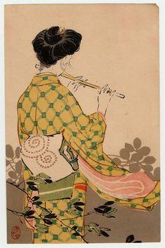 """ Mizuno Hidekata - Woman Playing the Flute from Jogaku sekai - Museum of Fine Arts, Boston - via """
