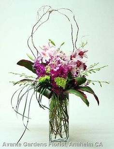 Orchids, hydrangea, lilies, willow