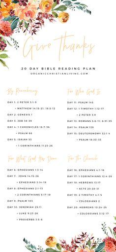 Give Thanks Bible Reading Plan Bible Study