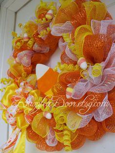 Candy Corn Deco Mesh Wreath Halloween Wreath Candy by DazzleaDoor