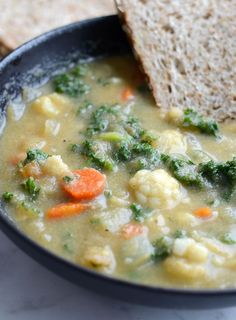 Healthy Kale and Cauliflower Soup - Vegan