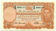 R14 AUSTRALIA 10/ 1949 COOMBS/WATT PREDECIMAL NOTE RARE