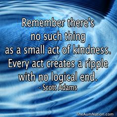 """""""Remember there's no such thing as a small act of kindness.  Every act creates a ripple with no logical end."""" - Scott Adams"""
