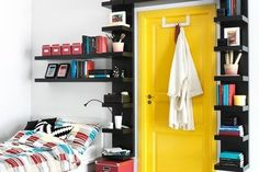 Build a bookshelf door. | 31 Tiny House Hacks To Maximize Your Space