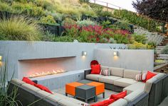 sloped backyard patio contemporary with hillside landscaping contemporary stair and step lights Garden Seating, Outdoor Seating, Outdoor Spaces, Outdoor Living, Outdoor Decor, Deck Seating, Outdoor Patios, Outdoor Kitchens, Outdoor Ideas