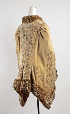 Embroidered silk velvet cape with plush trim and quilted lining (back), American or European, ca. 1885.
