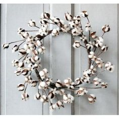 beautiful cotton boll wreath