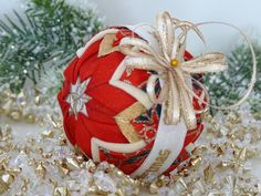 Hand-Crafted Quilted Ornament by PeakDecorStore on Etsy