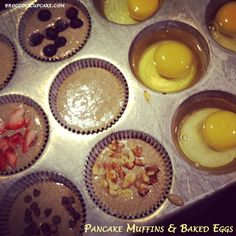 Pancake Muffins and Baked Eggs - going to try this pancake mix  see how it turns out.