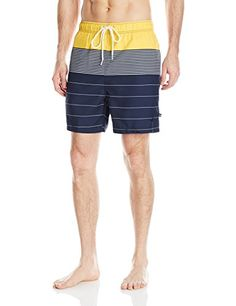 Cancun  Nautica Men's Quick Dry Engineered Stripe Swim Trunk, Marigold, XX-Large -- This is an Amazon Associate's Pin. Details on product can be viewed on Amazon website by clicking the image.