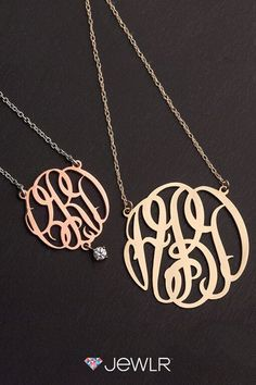 Design your own pendant using your initials and even add a sparkling charm or birthstone. Choose from 4 different sizes and a variety of metal options: Genuine Sterling Silver, 10k or 14k White or Yellow Gold or go for the trendy Rose Gold look. The finished product is your very own one-of-a-kind piece of custom jewelry.