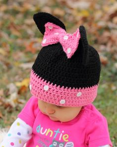 Your place to buy and sell all things handmade Crochet Cross, Crochet Baby, Knit Crochet, Crocheted Hats, Crochet Minnie Mouse Hat, Crochet Disney, Crochet Patterns, Hat Patterns, Needle And Thread