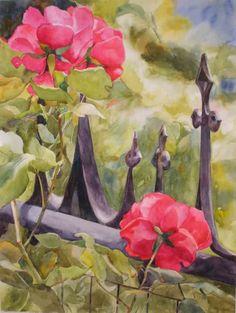 Watercolor Artists International - Contemporary Fine Art International: Garden Gate Roses - Kay Smith