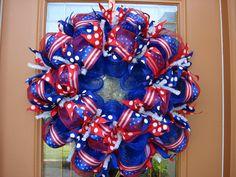 Deco Mesh Patriotic 4th of July Door Wreath.