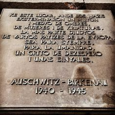 Auschwitz II-Birkenau. The monument dedicated to all victims of the German Nazi Auschwitz-Birkenau concentration and extermination camp. The plaque in Ladino or Judeo-Spanish the language of Sephardic Jews. --- Photo by: @od_y_trevid ---