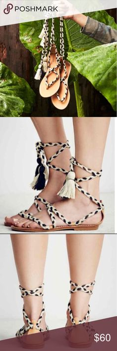 Free People wrap sandals New in box, unworn! Ankle wrap sandals with tassel ends, can be worn a few different ways. Fits true to size 8. No trades. Price is firm. Free People Shoes Sandals