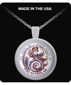 Silver Plated Fire Within Me Red and Blue Dragon Swirl Pendant with Necklace