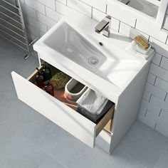 Tate white & oak 600 wall hung vanity unit with basin Oak Vanity Unit, Vanity Sink, Contemporary Bathroom Furniture, Bathroom Storage Units, Countertop Basin, Wall Hung Vanity, Basin Mixer Taps, White Oak, The Unit