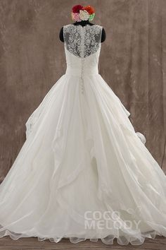 Dramatic A-Line Natural Sweep-Brush Train Organza Ivory Sleeveless Wedding Dress with Flower and Tiered LWXF14004#cocomelody#weddingdress#bridalgown#