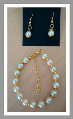 Gold plated pearl set Pearl Set, Jewelry Sets, Plating, Beaded Bracelets, Gold, Pearl Bracelets, Seed Bead Bracelets, Pearl Bracelet, Yellow