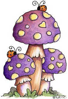 Mushrooms with Ladybugs