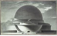 Etienne-Louis Boullée's design for the Cenotaph for Newton. Exterior view. Image © Bibliothèque Nationale de France
