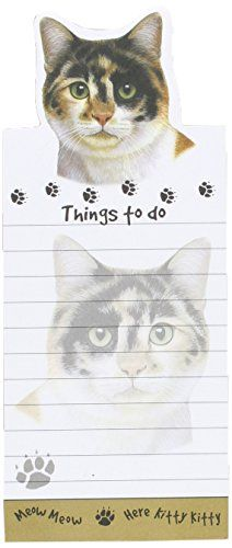 """Calico Cat Magnetic List Pads"" Uniquely Shaped Sticky Notepad Measures 8.5 by 3.5 Inches"