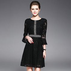 b7d9a91b5e4 Summer Dresses for Ladies 2017 Fashion Runway Designer Black Lace Dresses  Women Plus Size Flare Sleeve