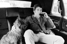 Dustin Hoffman on the way to the theater with his dog, Ratso, New York, 1969