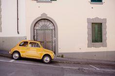 Vintage Yellow Fiat Art Print