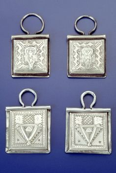 Africa | Pendants from the Tuareg people of Algeria | Silver | ca. 1971