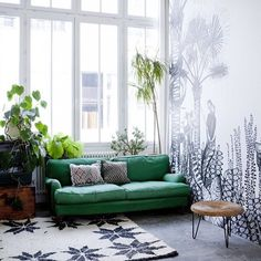 Unique living room design featuring an emerald green sofa, patterned rugs, and a large black and white tropical wall mural (wallpaper) - Modern Global Decor & Bohemian Decorating Ideas - Wallpaper By Bien Fait + Parisian Home Of Cécile Figuette Room Inspiration, Interior Inspiration, Daily Inspiration, Home Living Room, Living Spaces, City Living, Loft Spaces, Small Spaces, Home And Deco