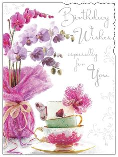 Jonny Javelin Age 60 Female Birthday Card - Pink Orchids & Teacups 9 x Birthday Cards Images, Happy Birthday Wishes Cards, Vintage Birthday Cards, Birthday Cards For Friends, Birthday Wishes Flowers, Flower Birthday Cards, Unicorn Birthday Parties, Card Birthday, Christmas Gift Decorations