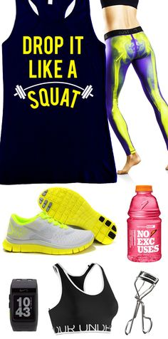 Cool Yellow Themed #GymGear Featuring Navy Blue DROP IT LIKE A SQUAT #Workout Tank Top by NobullWomanApparel, $24.99 on Etsy. Click here to buy www.etsy.com/listing/156716835/drop-it-like-a-squat-workout-tank?ref=shop_home_active_11