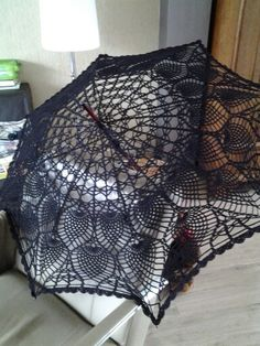 Crochet umbrella using a doily pattern