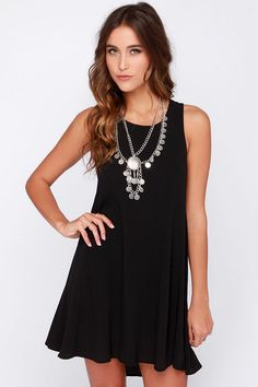 Chic Easy Black Swing Dress at Lulus.com! What a dangerous site! Linda - check it out! I'll let you know how the stuff is when it gets here. The black tank dress was great; harness bracelets too.... 3 dresses going back - none of these girls have boobs? Otherwise - great find - returns easy!