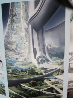 Floating colony in the environment& background. New Elysium concept art shows off Matt Damon& perfect space station futuristicart Futuristic City, Futuristic Architecture, Fantasy City, Sci Fi Fantasy, Matt Damon, Sci Fi City, Space City, Sci Fi Environment, Science Fiction Art