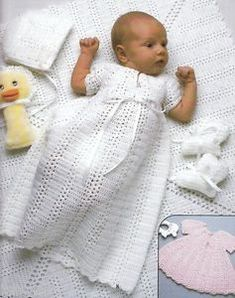 Free Crochet Christening Layette Patterns | Baby-Layette-Patterns-Crochet-Knit-Christening-Gown-Dress-Sweater ...